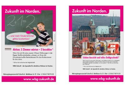 """Anzeigen und Plakate zur Kampagne """"Zukunft im Norden"""" (Wohnungsbaugenossenschaft Zukunft)"""