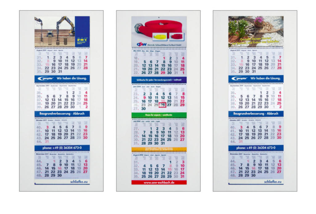 Posterkalender, Viermonatskalender, Tischkalender