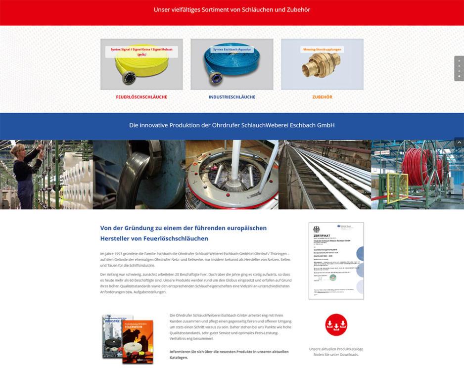 Homepage Internetseiten Webpräsenz Schlauchweberei Eschbach