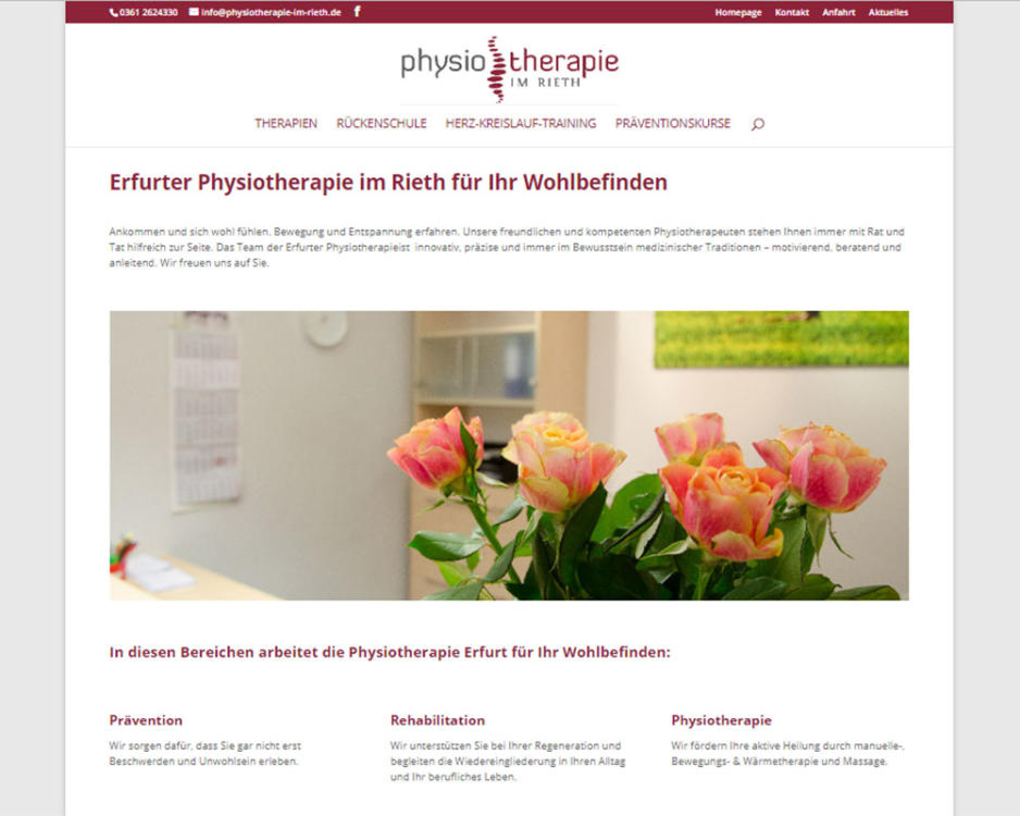 Webdesign Homepage Webpräsenz Physiotherapie Erfurt